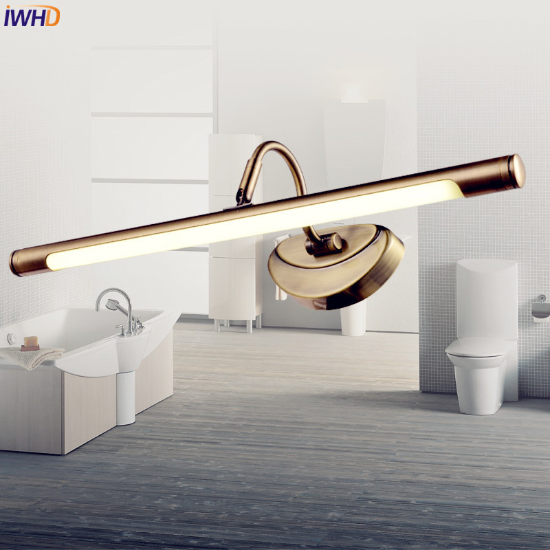 IWHD American Vintage LED Bathroom Light Dresser Brass Rustproof Retro Wall Lamp Lights LED Mirror Light Arandela Wall Sconce IWHD American Vintage LED Bathroom Light Dresser Brass Rustproof Retro Wall Lamp Lights LED Mirror Light Arandela Wall Sconce