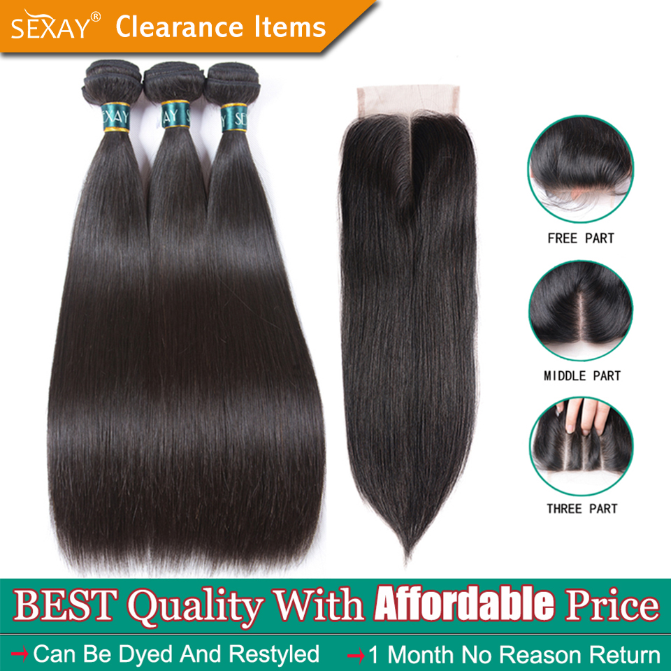 Straight Hair Bundles With Closure SEXAY Brazilian Straight Human Hair Weave 3 Bundles With Closure Human Hair Weft With Closure