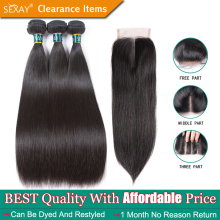 Straight Hair Bundles With Closure SEXAY Brazilian Straight Human Hair Weave 3 Bundles With Closure Human Hair Weft With Closure(China)