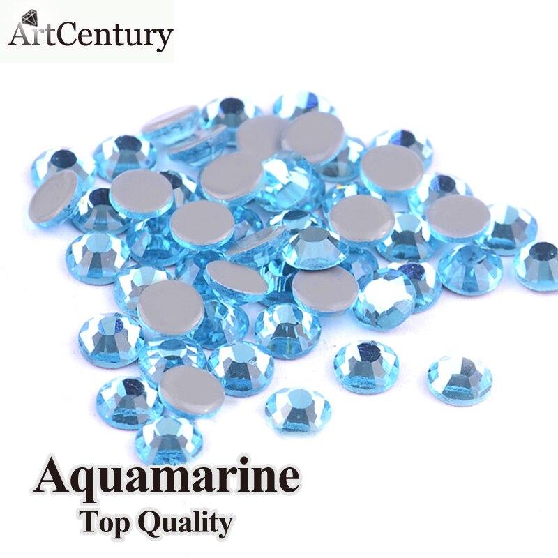 AAA Grade Quality Aquamarine Hotfix Rhinestones For Clothes DIY Glass Crystals Strass Stones