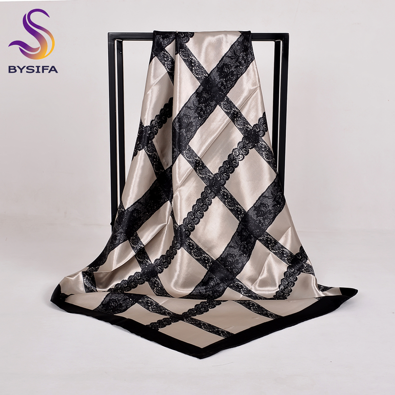 [BYSIFA] Winter Grey Silk   Scarf   Shawl Fashion Lace Pattern Printed Women Large Square   Scarves     Wraps   Spring Autumn Elegant Cape