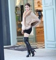 Трикотажные норки шаль роскошные дамы на осень зиму вязаная теплая куртка с натуральной енота меховым воротником/отделкой. черный коричнев