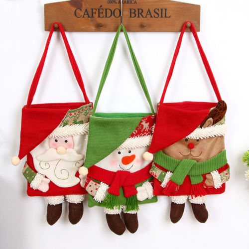 1pcs santa claus christmas candy bags xmas gift elf elk pants treat pocket cotton pouch handable - Christmas Candy Bags