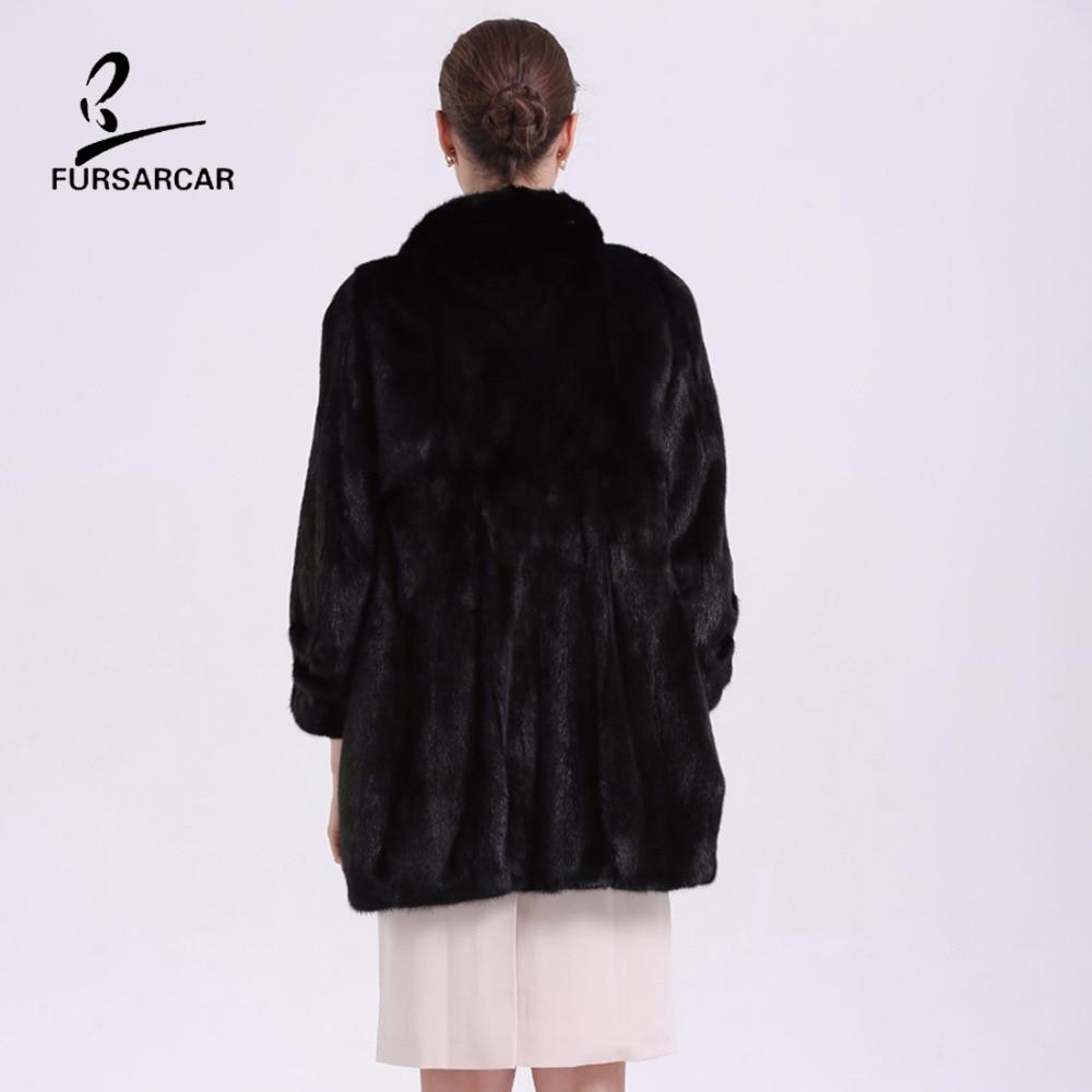 FURSARCAR Mewah Nyata Mink Fur Coats Berdiri Collar Hitam Natural Fur - Pakaian Wanita - Foto 6