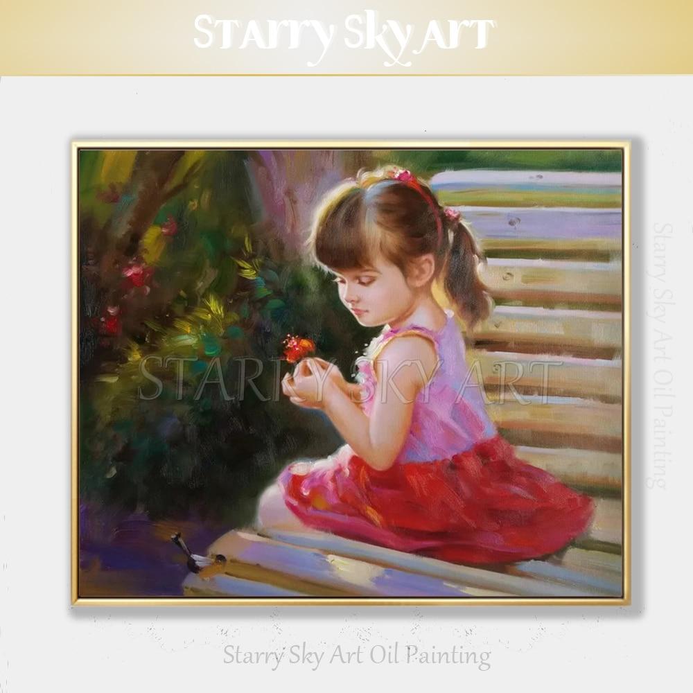 Peintre professionnel peint à la main de haute qualité impressionniste enfant fille peinture à l'huile sur toile belle fille Figure peinture à l'huile