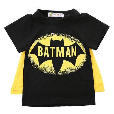 Футболка для мальчиков топы с плащом Супермена и Бэтмена детская летняя футболка с коротким рукавом одежда для маленьких мальчиков костюм - Цвет: Черный
