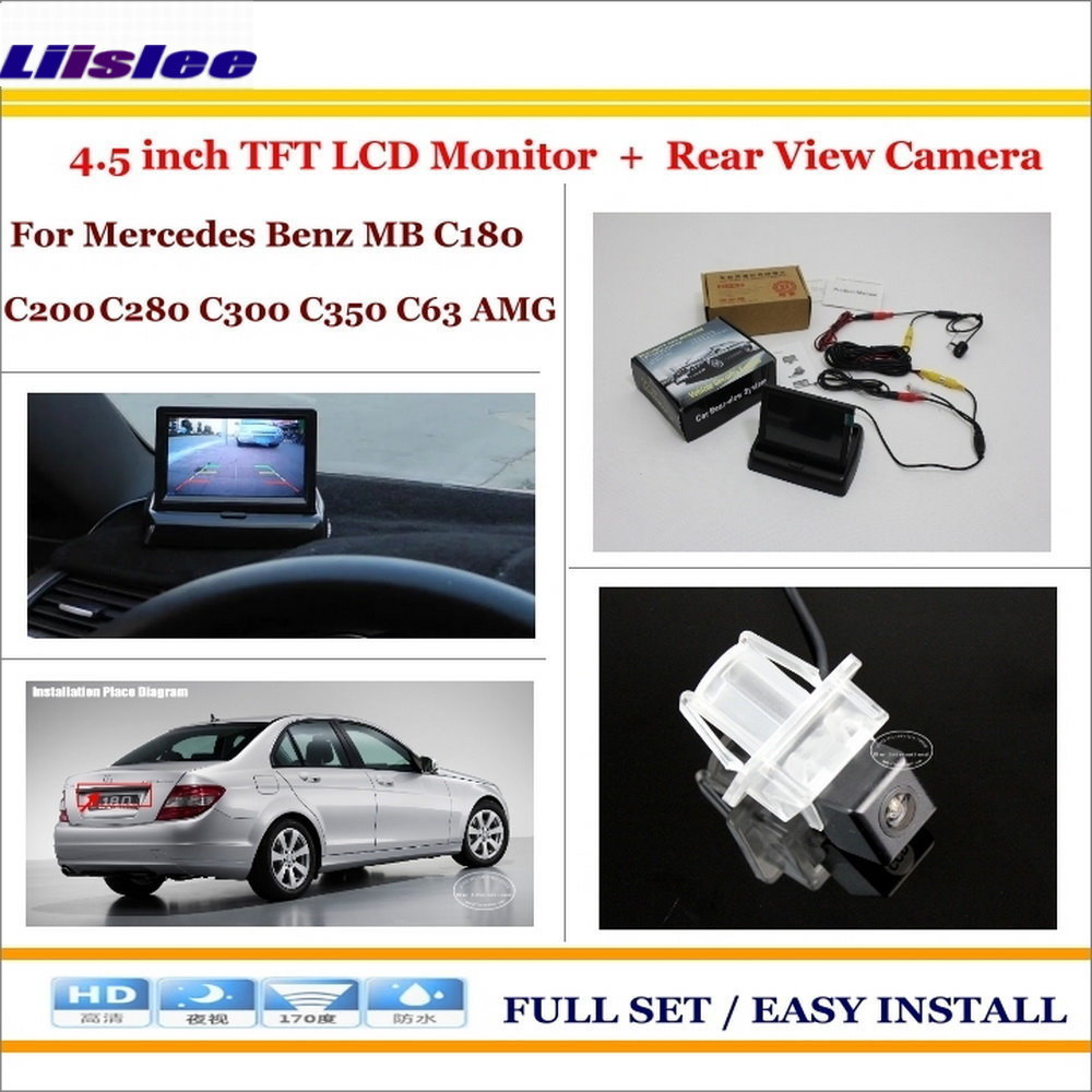 Liislee For Mercedes Benz C180 C200 C280 C300 C350 C63 - Car Reverse Rear Camera + 4.3 TFT LCD Monitor = 2 in 1 Parking System image