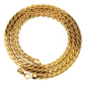 """30""""*6mm Hammered Curb Cuban Link Chain 75cm Gold Filled Braided Wheat Link Chain Men Women Long Necklace Top Quality"""