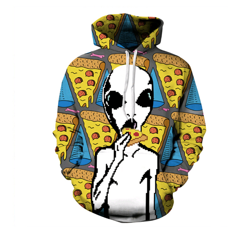 Fashion Men Women Hoodies Alien pizza 3D Printing Hoodies harajuku Autumn Couple models funny hooded sweatshirt plus size S-3XL