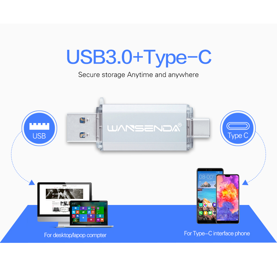 Hotsale WANSENDA OTG Usb Stick Typ C Stift Stick 128 GB 64 GB 32 GB 16 GB USB-Stick 3,0 High Speed Pendrive für Typ-C Gerät 1