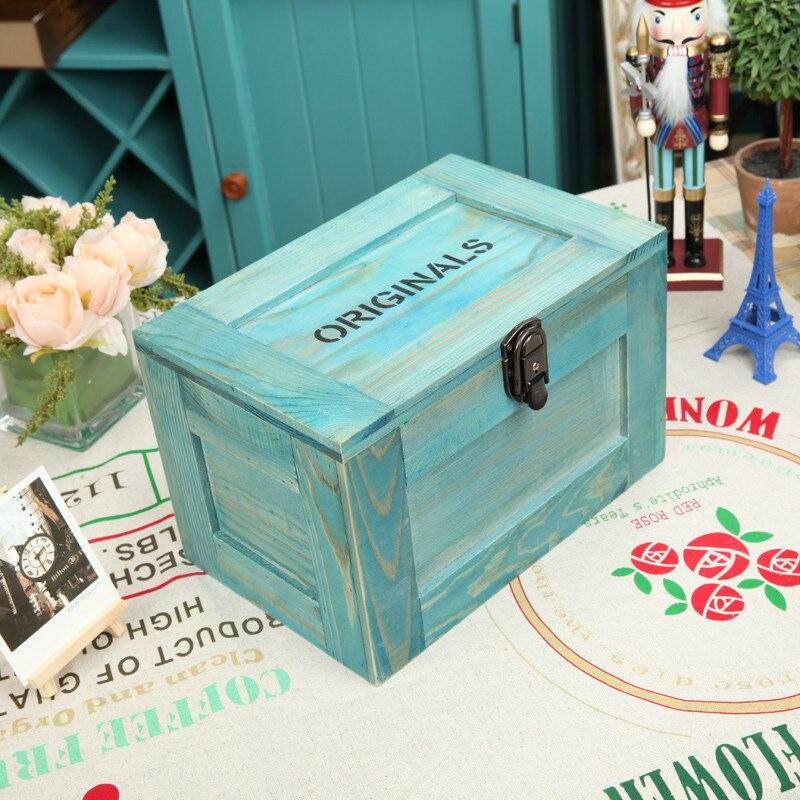 Zakka boîte de rangement décoration boîte Style rétro en bois massif avec serrure boîte en bois boîte à bijoux - 2
