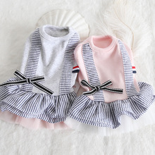 Spring and summer 2019 new striped fake two slip skirt pet dog supplies clothing wholesale