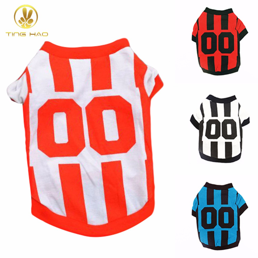 TINGHAO Fashion Pet Puppy Clothes Sports Style Polo Shirt Striped T-shirt Dog Apparel