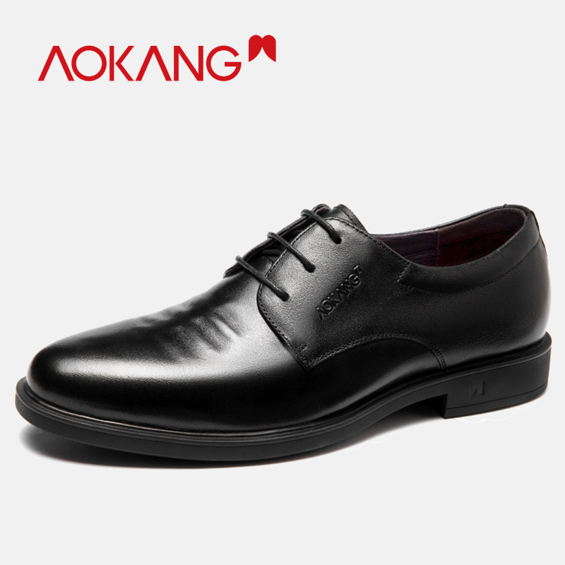 AOKANG 2019 New Arrival Men shoes Genuine Leather shoes Men Comfortable Soft High Quality Lace Up Derby Shoes Black