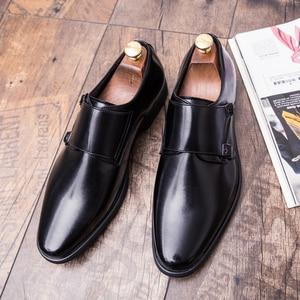 Image 4 - Zimnie ブランド男性クラシックバックル厚い底ドレスシューズ男性ハンドメイドの高級フォーマルビジネスオフィス靴革の靴