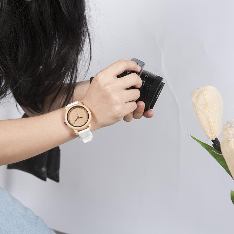 Zegarek drewniany Bobo Bird Color Silikon White B07 2