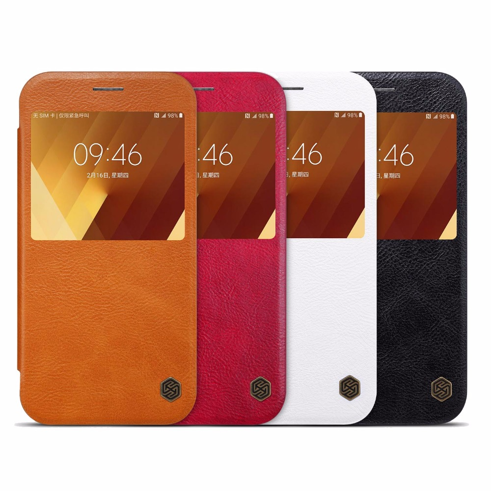 for Samsung Galaxy A5 2017 case cover Nillkin brand QIN leather case for samsung galaxy a5 2017 with Status view windows