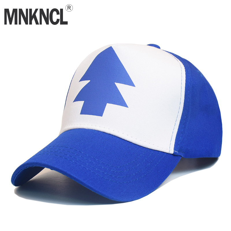 2017 Fashion Gravity Falls Baseball Cap BLUE PINE TREE Hat Cartoon Trucker Snapback Cap New Curved Bill Dipper Adult Men Dad Hat anime pocket monster flareon cosplay cap orange cartoon pikachu ladies dress pokemon go hat charm costume props baseball cap