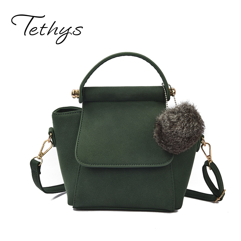Tethys Vintage Trapeze Tote Crossbody Bag Women Leather Handbags Ladies Fur Messenger Bags Female Top-Handle Bags High Quality casual tote women handbags women messenger bag leather top handle shoulder bag vintage motorcycle crossbody bags women bag bolsa