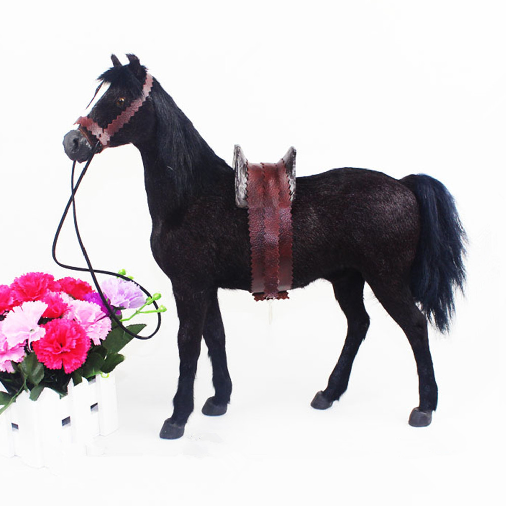 Fancytrader Simulation 1/6 Scale Ferghana Horse Toy with Saddle Home Decoration Photograph Prop Great Rare Collection 3 Colors large 42x40cm simulation bell horse model toy polyethylene&furs white horse with saddle prop home decoration xmas gift 0715