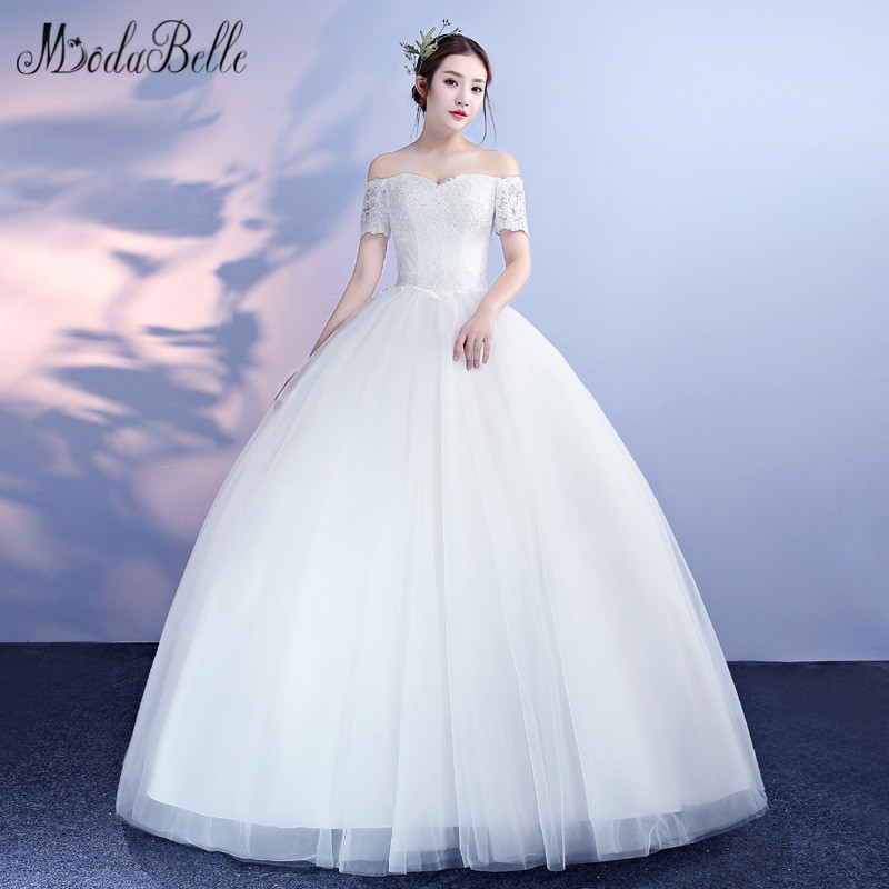 modabelle Lace Top Bodice Tulle Ball Gown Wedding Dresses With Short Sleeves 2018 New Arrival <font><b>abiti</b></font> <font><b>da</b></font> <font><b>sposa</b></font> <font><b>Sexy</b></font> Bridal Dress image