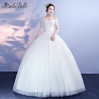 modabelle Lace Top Bodice Tulle Ball Gown Wedding Dresses With Short Sleeves 2018 New Arrival abiti da sposa Sexy Bridal Dress