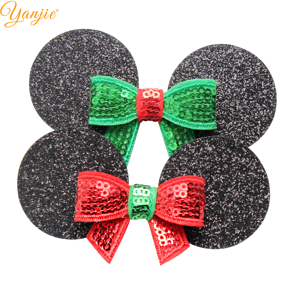 Us 8 63 45 Off 12pcs Lot 2019 Christmas Minnie Mouse Ear Hairgrips For Kids Lovely Diy Sequin Bow Party Hair Clips For Girls Hair Accessories In
