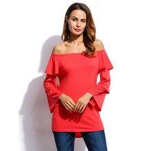 Women Elastic Ruffled Off Shoulder Long Sleeve Irregular Hem Shirt Tops Casual