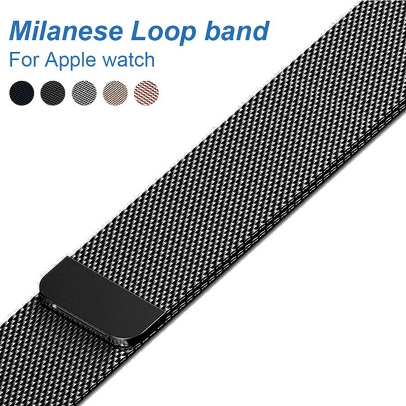 Milanese Loop band para Apple Watch 42mm 38mm enlace pulsera Correa magnética hebilla ajustable con adaptador para iwatch serie 3/2
