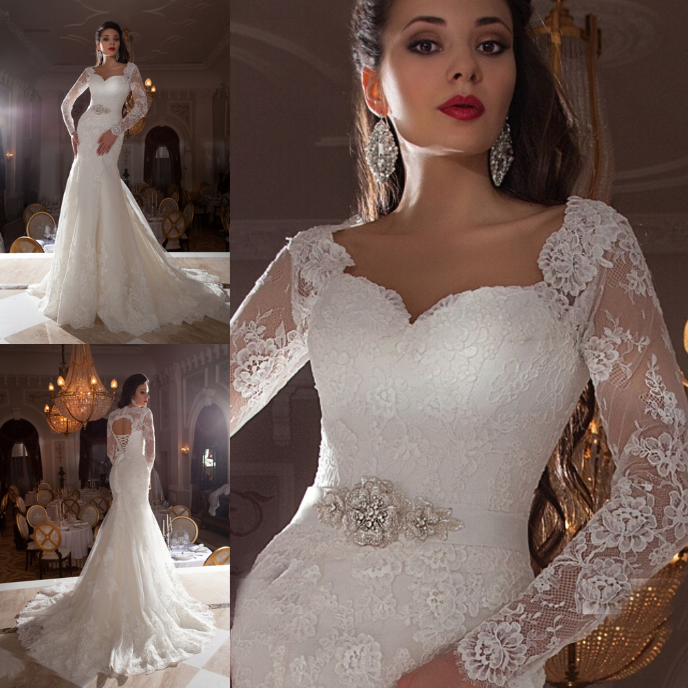 Mermaid Lace Wedding Gown: 2015 Vintage Lace Bridal Dress Long Sleeve Mermaid Wedding