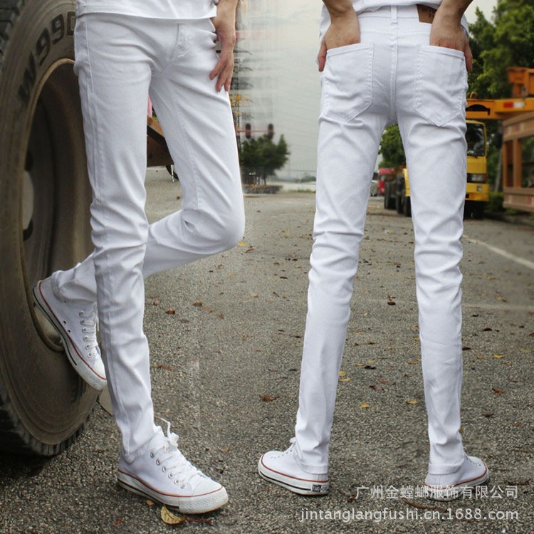 Jeans Men Pencil-Pants City White Thin Skinny Hip-Hop Casual Fashion Boy Male Autumn