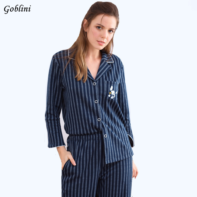 Autumn New Arrival Women Men 100% Cotton Pajama Sets Striped Long Sleeve Sleepwear Two-pieces Big Size V-neck Breathable Pyjamas nautica new blue long sleeve v neck pajama top m $32 dbfl