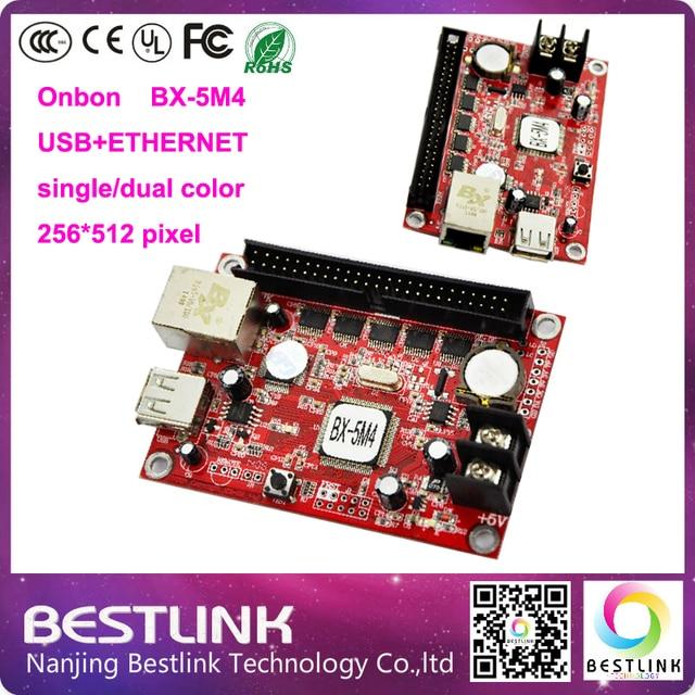 Onbon BX-5M4 controller card 256*512 pixel USB+ETHERNET port controller single/dual color control card p10 LED module led sign