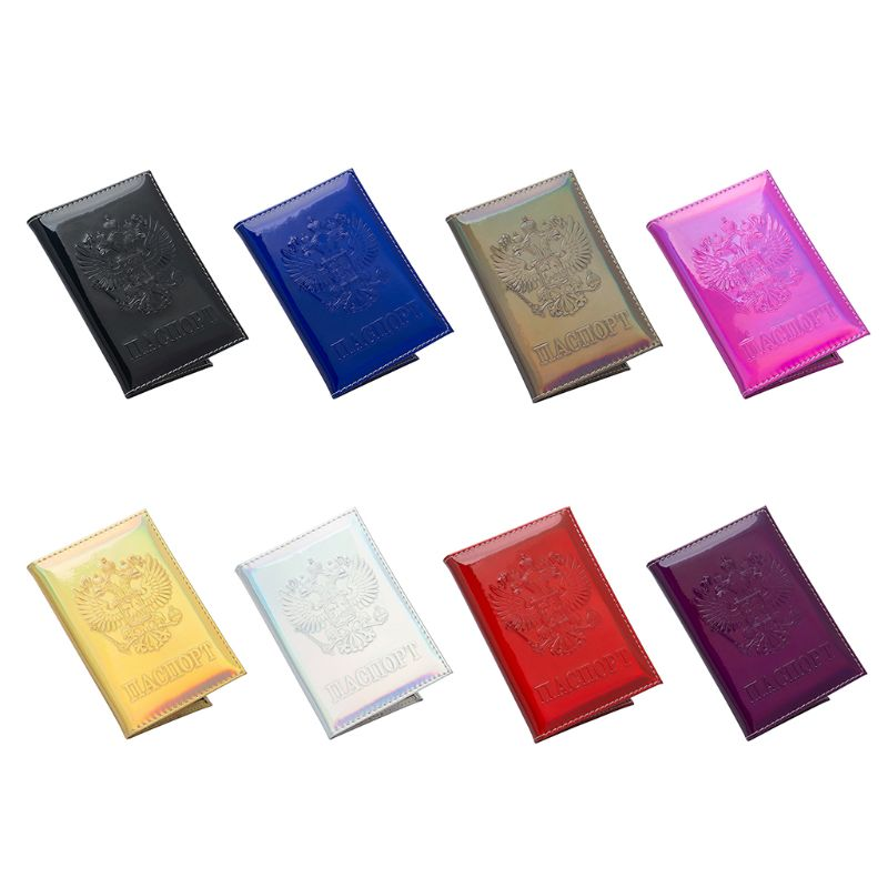 Fashion Men Women Russia PU Leather Holographic Passport Cover Protector Travel Wallet Holder ID Cards Cover Case New 8 Colors