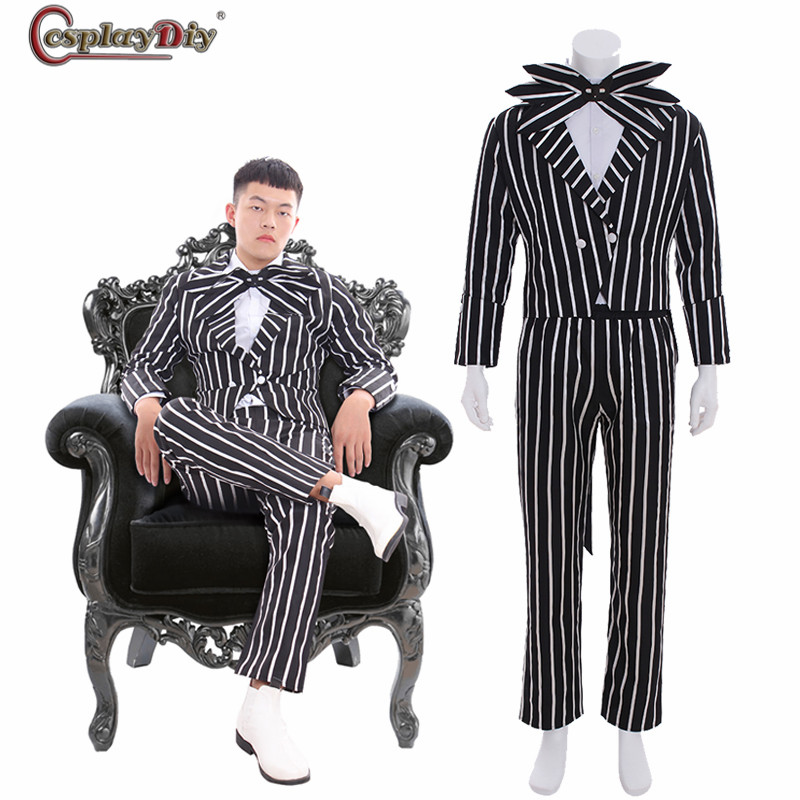 Nightmare Before Christmas Images Black And White.Us 88 11 11 Off The Nightmare Before Christmas Cosplay Jack Skellington Stripe Costume Halloween Party Outfits Black White Suits In Movie Tv