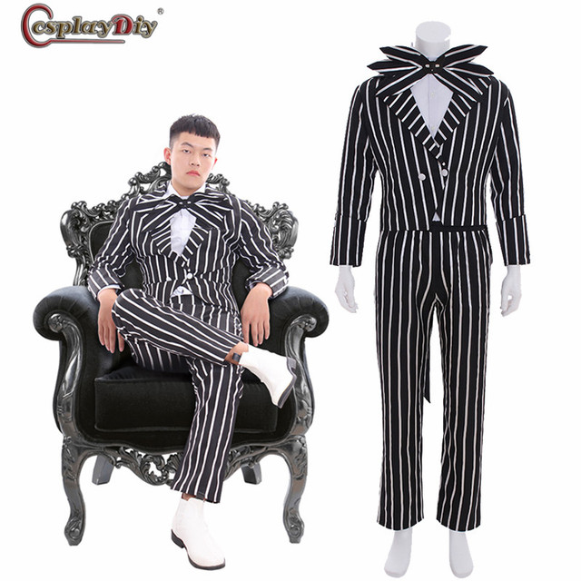 The Nightmare Before Christmas Cosplay Jack Skellington Stripe Costume  Halloween Party Outfits Black & white Suits - Aliexpress.com : Buy The Nightmare Before Christmas Cosplay Jack