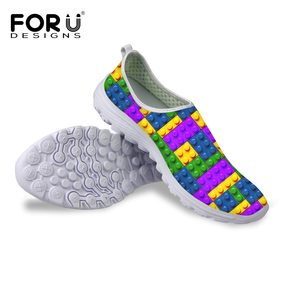 FORUDESIGNS 2017 Fashion Summer Slip on Mesh Shoes Women Puzzle Box Jigsaw Tetris Print Breathable Network Shoes Soft Light Flat projector lamp bulb an xr20l2 anxr20l2 for sharp pg mb55 pg mb56 pg mb56x pg mb65 pg mb65x pg mb66x xg mb65x l with houing