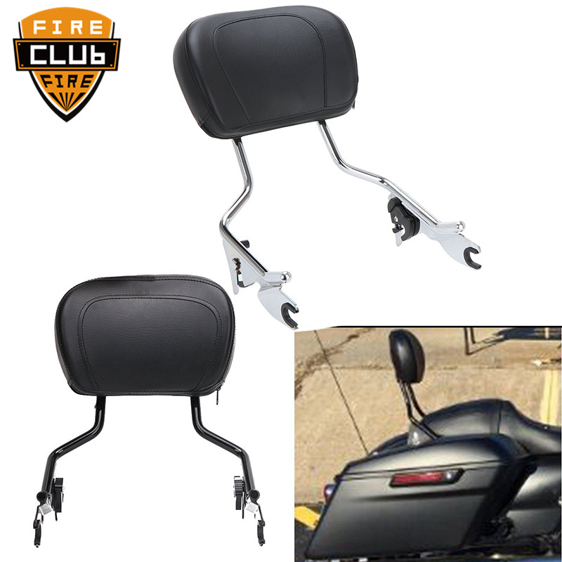 For Harley Touring Road King Street Glide FLHR FLHX FLHT FLTR 2009-2017 Motorcycle Detachable Sissy Bar Passenger Backrest W/Pad