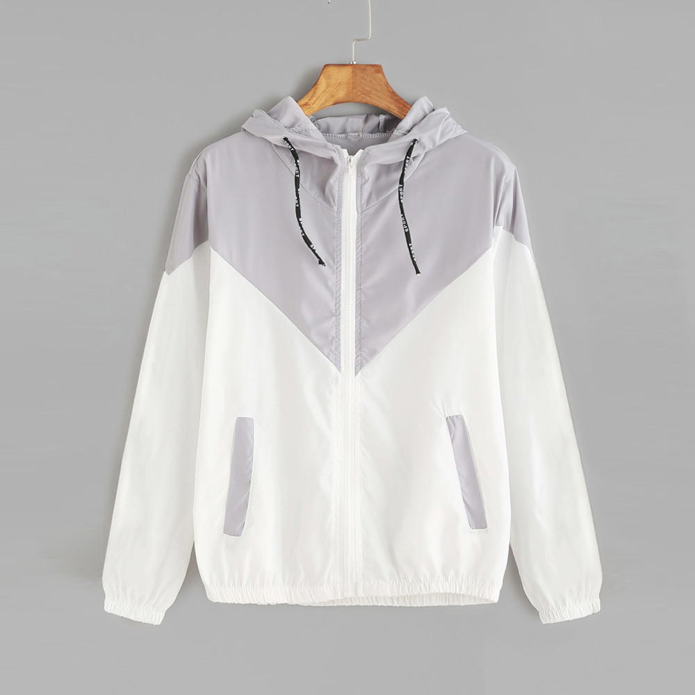 New autumn winter fashion women long sleeve patchwork soft thin skinsuits hooded zipper pockets sweatshirt tracksuit casual coat