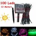 100 Lâmpada Led Solar Power LED Cordas Guirlandas Luzes Solares Do Jardim Luzes De Natal Luzes De Fadas Decoração Do Feriado Ao Ar Livre WSL021