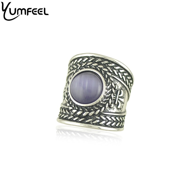 Yumfeel Vintage Boho Jewelry Rings Metal with antique silver plated cuff Rings with cats eye stone rings ...