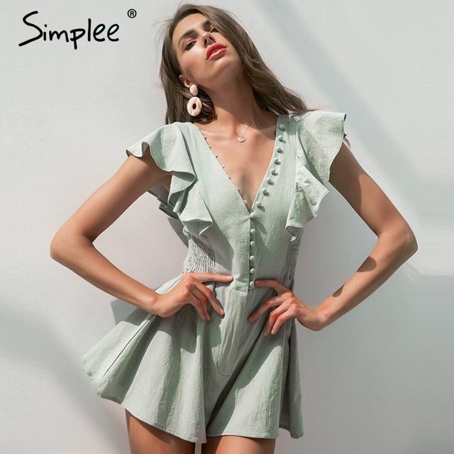 v-ausschnitt frauen sommer  baumwolle kurzer overall casual sexy