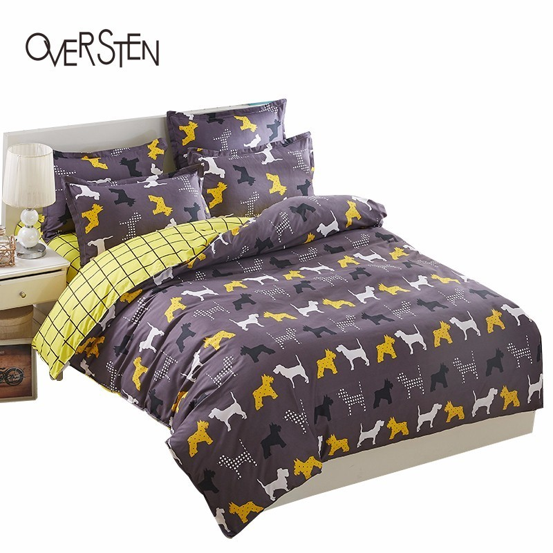 OVERSTEN Cartoon Style Double Single Bedding Set King win Queen Size Duvet Cover Set Animal Pattern Bedding Kit <font><b>Bed</b></font> Linen