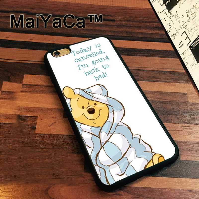 MaiYaCa Winnie The Poohs Bear Sleepy Rubber Back Cover Soft TPU Fundas for iPhone 7 Luxury Protective Case for iPhone 7 Bag