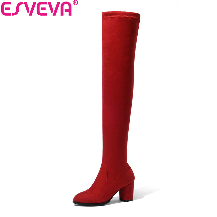 ESVEVA 2019 Women Boots Look Slim Over The Knee Boots Stretch Fabrics Round Toe Shoes Square High Heels Autumn Boots Size 34-43 esveva 2019 women boots square heels stretch fabric over the knee boots spring autumn shoes round toe woman boots size 34 42