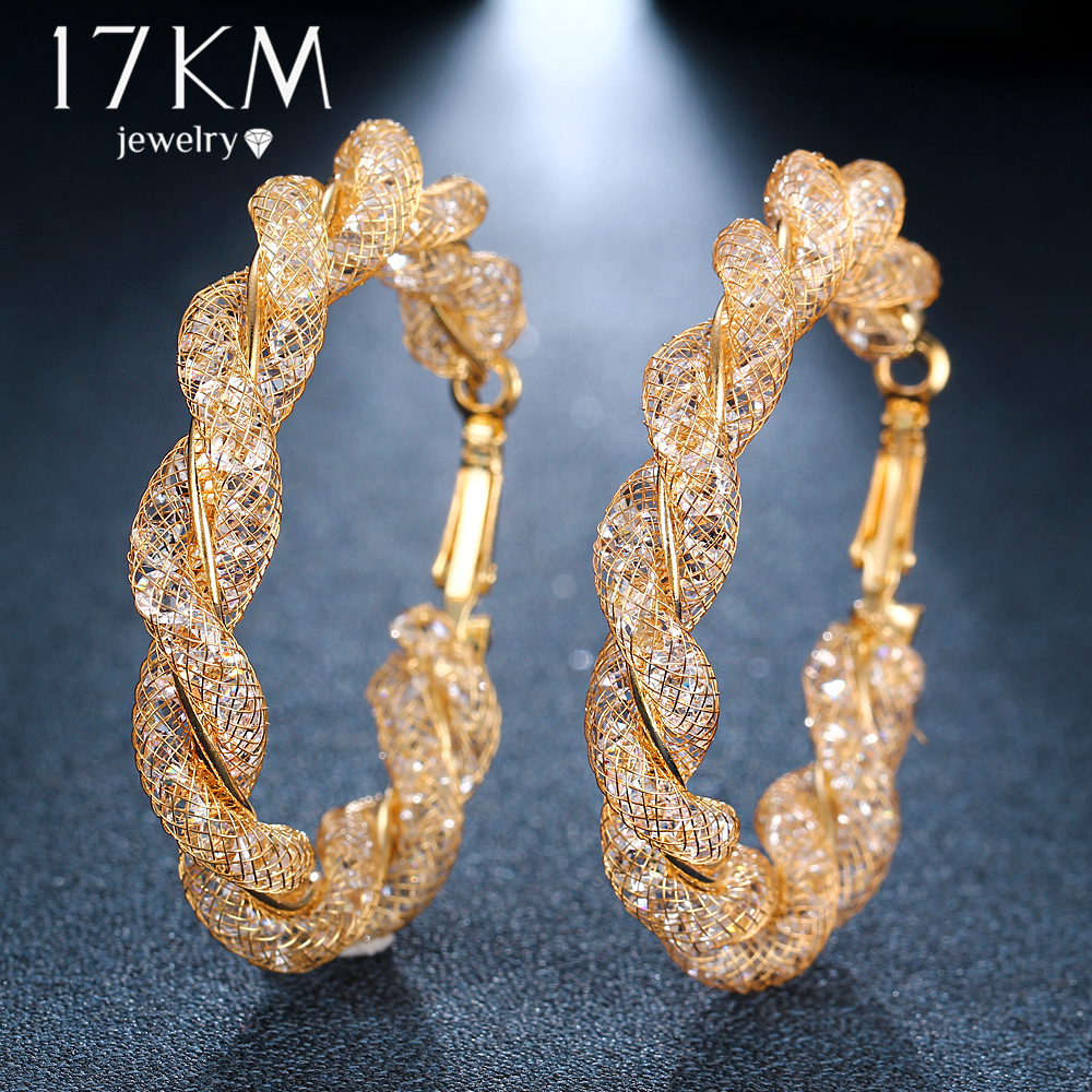 17KM Oversize Geometric Circle Round Hoop Earrings for Women Brincos Cubic Zirconia Twist Earring Gold Color Party Jewelry Gift