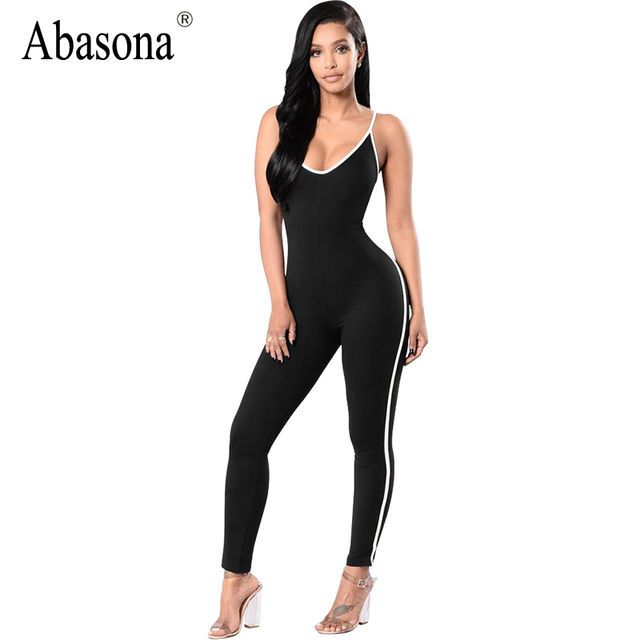 c6409c8098 Abasona Sleeveless backless sexy bodycon jumpsuit Summer black white stripe overalls  V neck straps womens rompers sportsuit