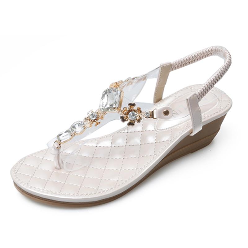 HEYIYI Women Sandals Platform Wedges Diamonds Rhinestone Flats Shose Summer Fashion Female Beach Shoes Plus Size 35-41 Gladiator