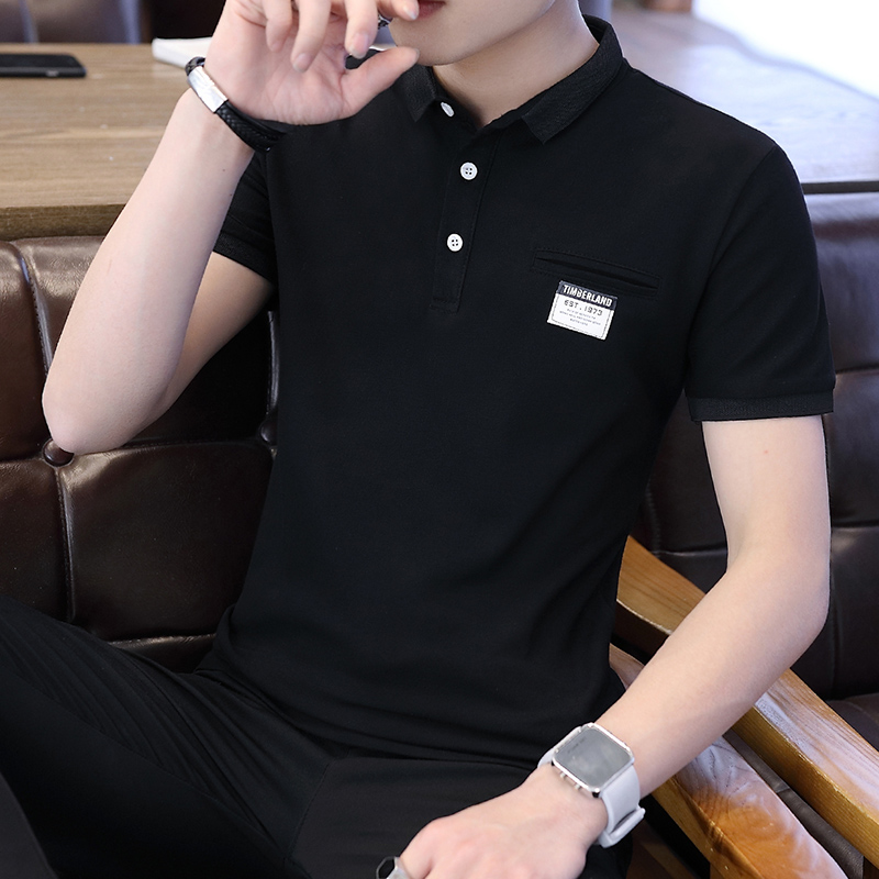 Mens Polo Shirt Summer Style Men Business Casual Solid Color Short Sleeve Polo Shirt Slim Cotton Polo Shirt Men Fake Pocket 22