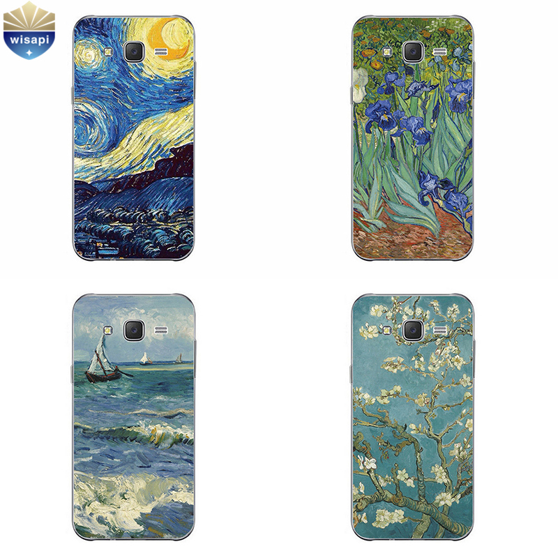 Phone Case For Samsung Galaxy J3 J5 J7 (2016) Back Cover Grand Prime G530 Shell Soft TPU Cellphone Van Gogh Design Painted image